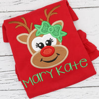 Personalized Christmas Reindeer Appliqué on Colored Garment