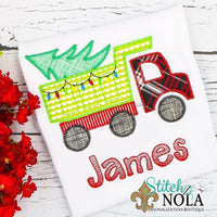 Personalized Christmas Tree Dump Truck Applique Shirt