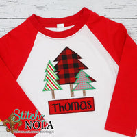 Personalized Christmas Tree Bunch Applique Shirt