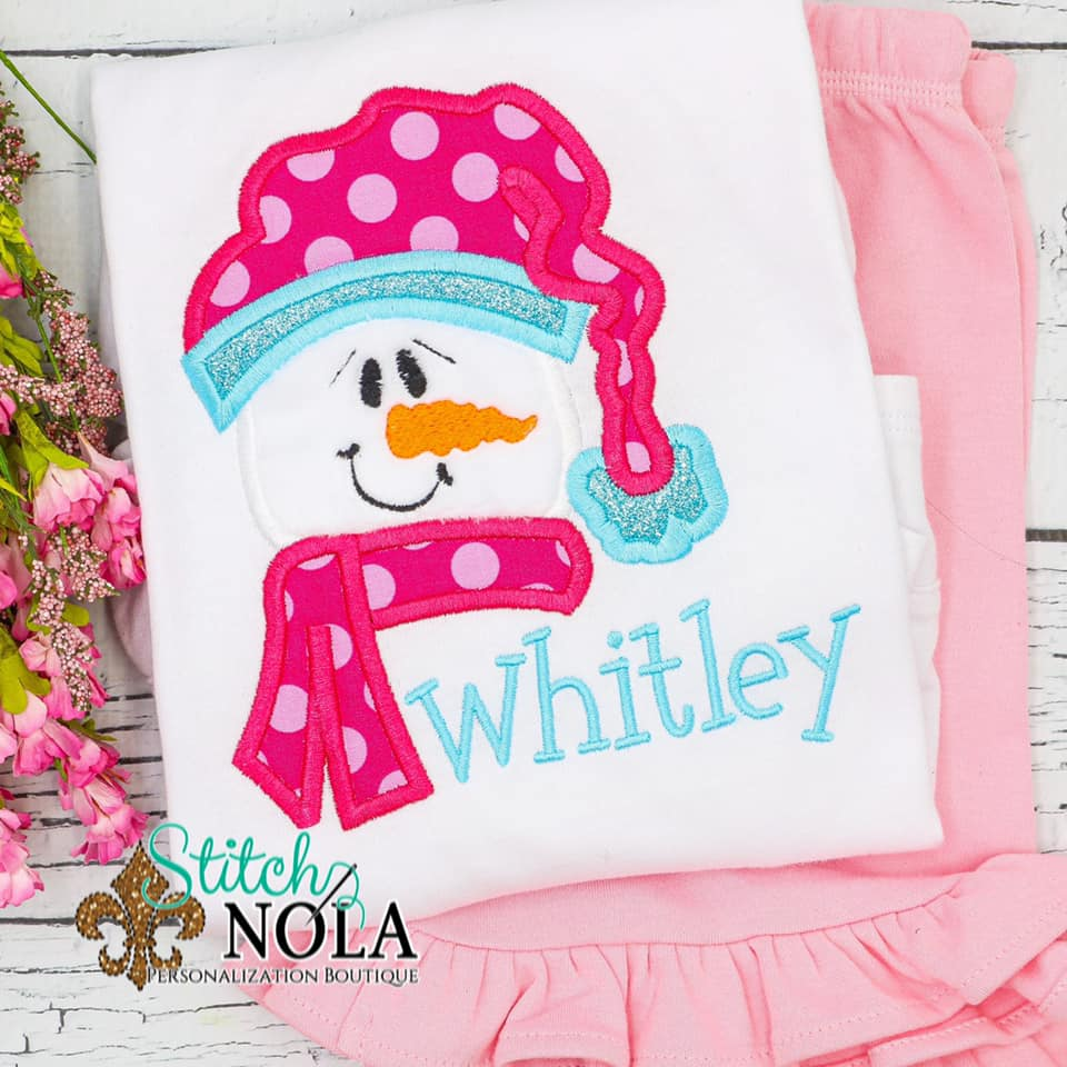 Personalized Christmas Snowgirl Applique Shirt