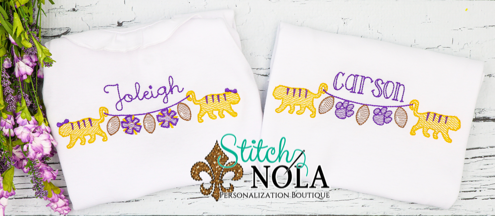Personalized Purple and Gold Tigers on a String Sketch Shirt