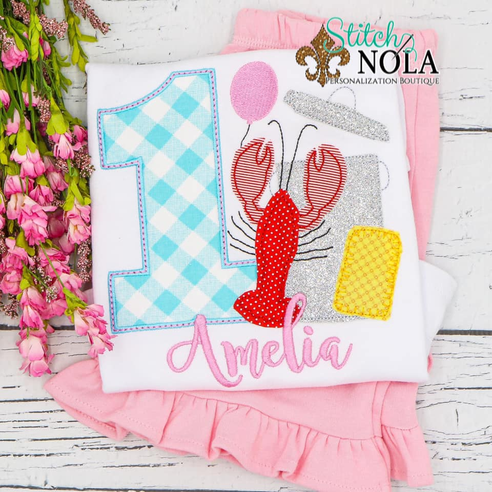 Personalized Birthday Crawfish Boil Appliqué Shirt
