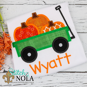 Personalized Pumpkin Wagon Applique Shirt