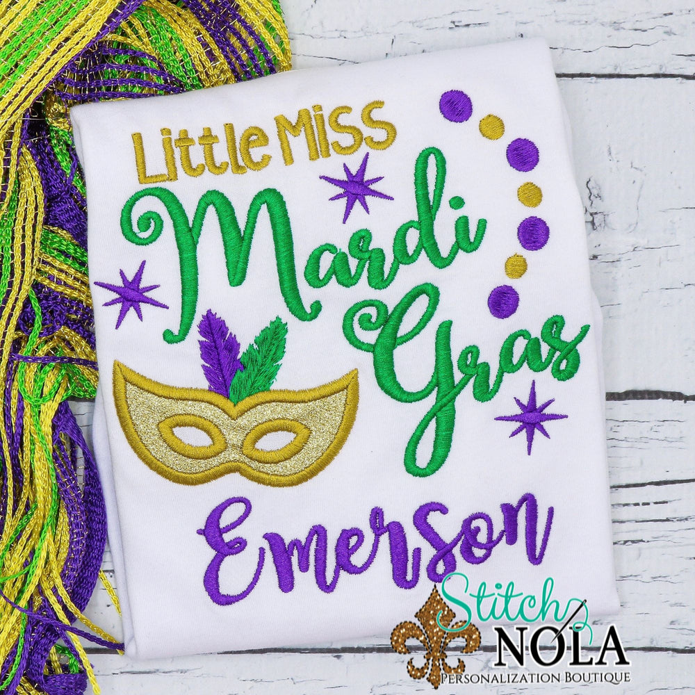 Personalized Little Miss Mardi Gras Applique Shirt