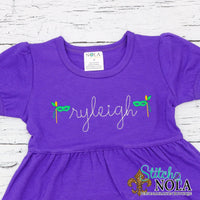 Personalized Mardi Gras Dress with Mask Sketch on Colored Garment