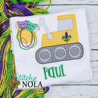 Personalized Mardi Gras Bulldozer with Mask & Beads Sketch Shirt