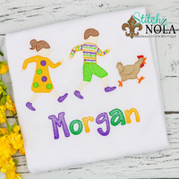 Personalized Mardi Gras Kids Chasing Chicken Sketch Shirt