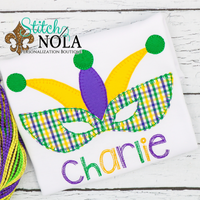 Personalized Mardi Gras Jester Mask Applique Shirt