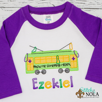 Personalized Mardi Gras Street Car Sketch Shirt