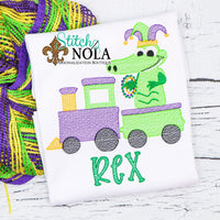 Personalized Mardi Gras Train with Alligator Sketch Shirt