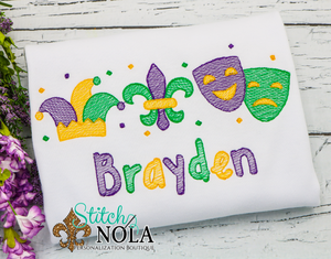 Personalized Mardi Gras Jester Hat, Fleur de lis, & Masks with Confetti Trio Sketch Shirt