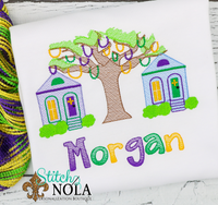 Personalized Mardi Gras Tree with Houses Sketch Shirt