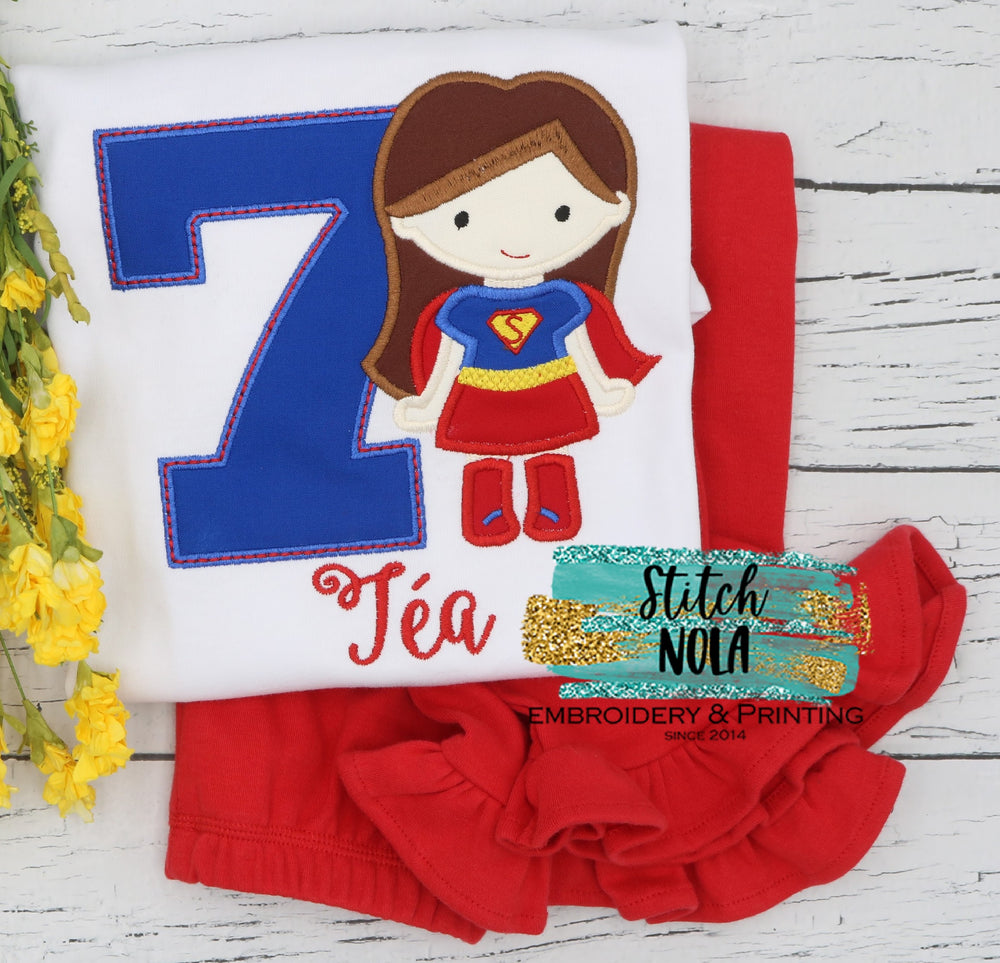 Personalized Birthday Wonder Woman Appliqué Shirt