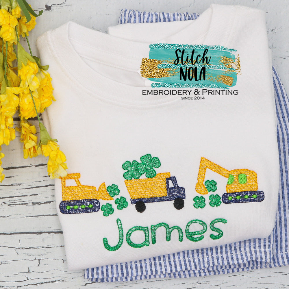 Personalized St. Patrick's Day Construction Trio with Clovers Sketch Shirt