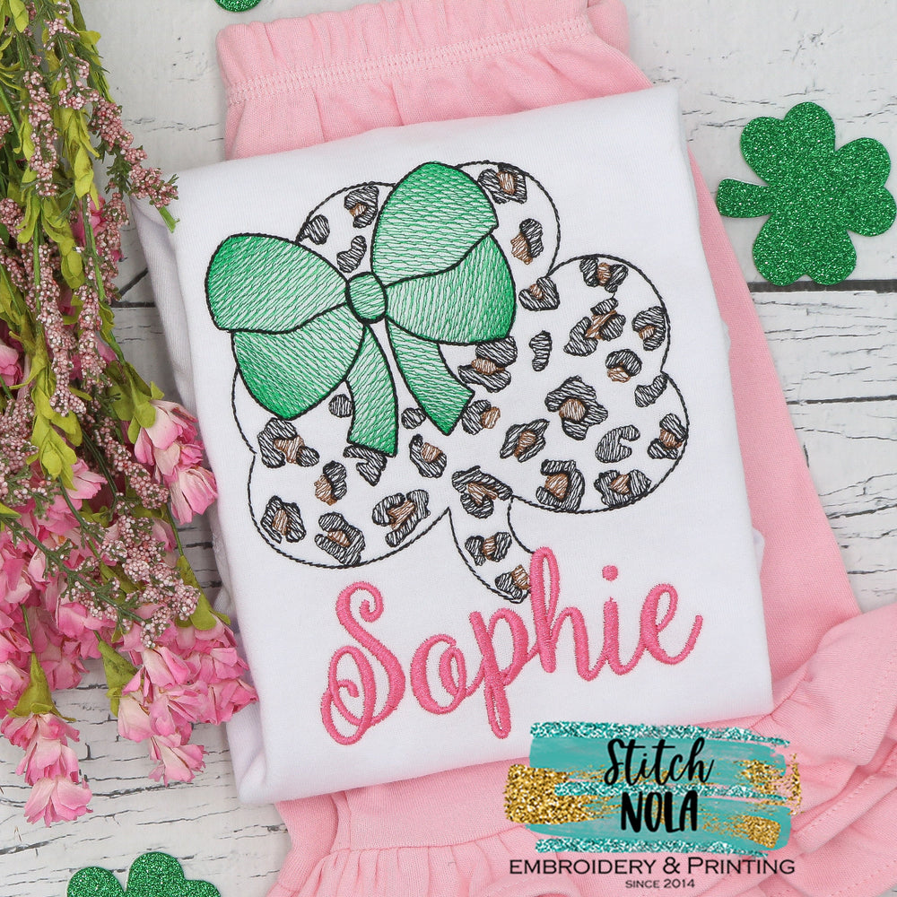Personalized St. Patrick's Day Leopard Clover Sketch Shirt