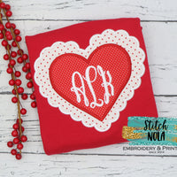 Personalized Valentine Scalloped Heart Applique Colored Garment