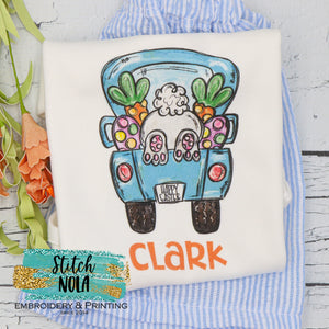 Personalized Easter Bunny In Truck Printed Shirt