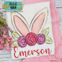 Personalized Easter Bunny Ears With Flower Crown Printed Shirt