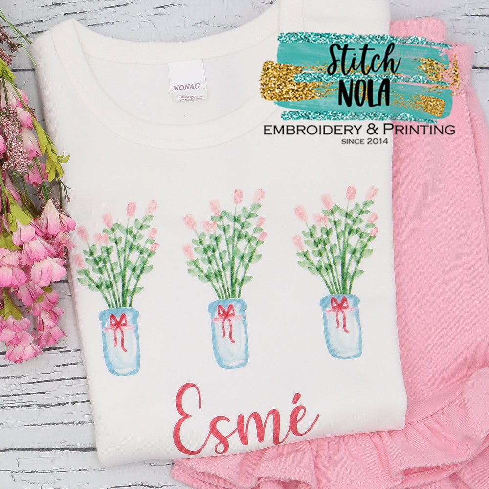 Personalized Flower Trio Printed Shirt