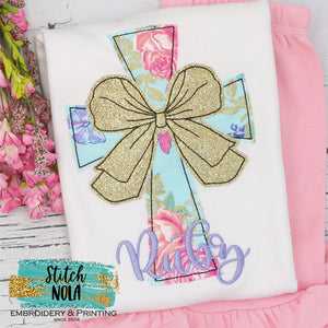 Personalized Floral Easter Cross With Bow Appliqué Shirt