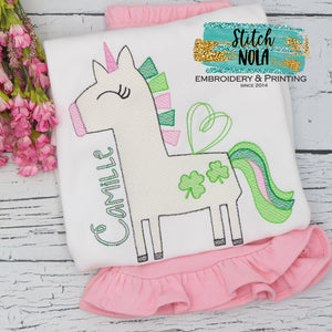 Personalized St. Patrick's Day Unicorn with Clovers Sketch Shirt