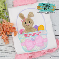Personalized Easter Bunny In Basket Appliqué Shirt