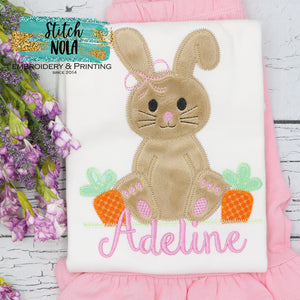 Personalized Easter Bunny With Carrots Appliqué Shirt