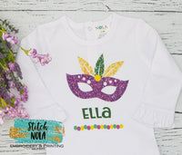 Personalized Mardi Gras Glitter Mask Printed Shirt