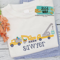 Personalized Easter Construction Vehicle Trio Sketch Shirt