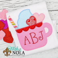 Personalized Valentine Coffee Cup with Monogram Applique Shirt
