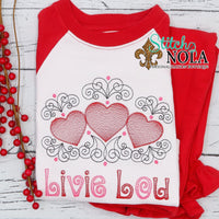 Personalized Valentine Hearts with Swirls Sketch Shirt
