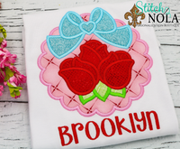 Personalized Valentine Scallop Circle with Roses Applique Shirt