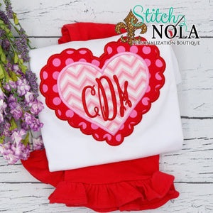Personalized Valentine Scallop Heart with Monogram Applique Shirt