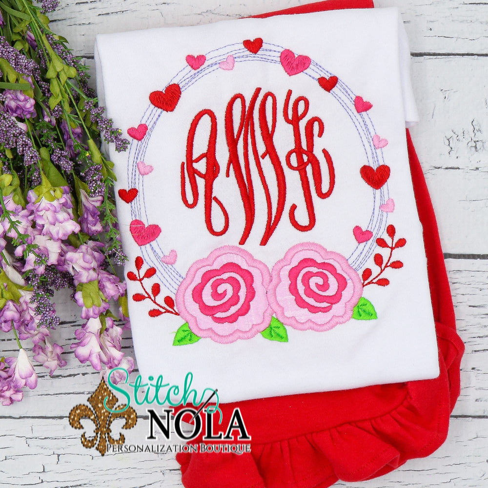 Personalized Valentine Wreath with Roses Sketch Shirt