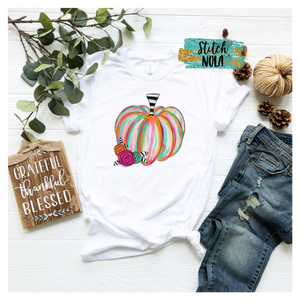 Adult Colorful Pumpkin Printed Tee