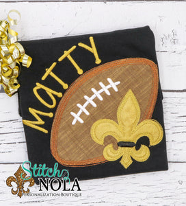 Personalized Black and Gold Football with Fleur de lis on Colored Garment
