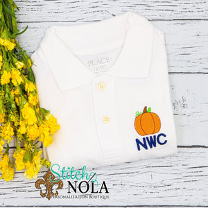 Personalized Fall Collared Shirt with Pumpkin