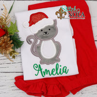 Personalized Christmas Cat with Santa Hat Applique Shirt