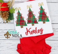 Personalized Christmas Tree Trio Applique Shirt
