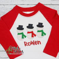 Personalized Christmas Snowman Trio Applique Shirt
