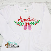 Personalized Christmas Mitten Wreath Swag Sketch Shirt