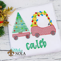 Personalized Vintage Christmas Coupe And Tree Wagon Sketch Shirt