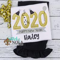 Personalized Big 2020 Black & Gold New Years Applique Shirt