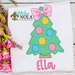 Personalized Christmas Tree with Bow Sketch Shirt