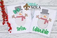 Personalized Christmas Snowman Sketch Shirt