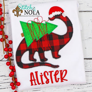 Personalized Christmas Dinosaur Applique Shirt