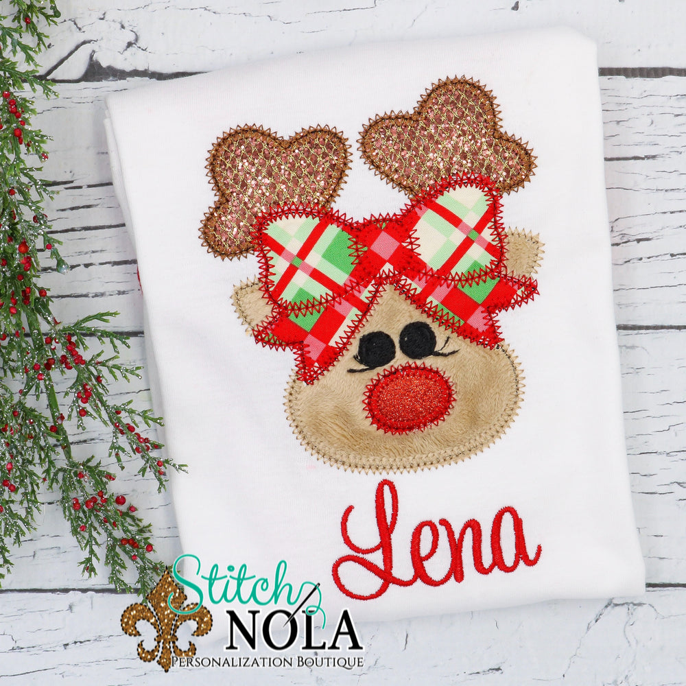 Personalized Christmas Reindeer Applique Shirt
