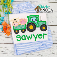 Personalized Farm Animal Tractor Applique Shirt