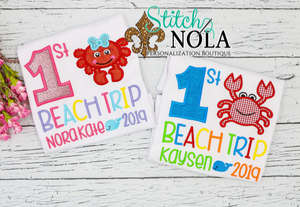 Personalized First Beach Trip Applique Shirt