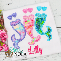 Personalized Mermaid Trio Applique Shirt